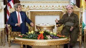 """مسعود البرزاني يبلغ كيري """" الهجوم الواسع الذي تشنه مجاميع داعش خلقت عراقا جديدا !!"""