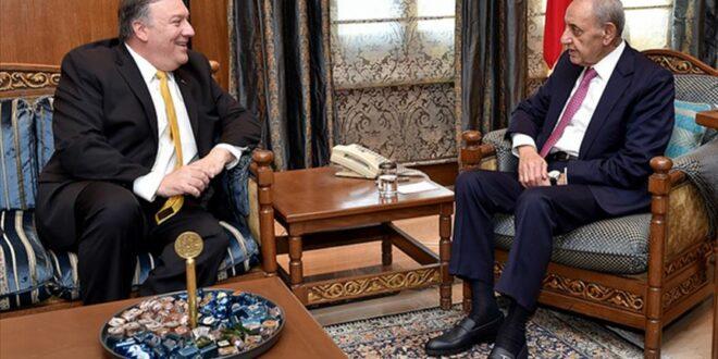 نبيه بري لوزير الخارجية الامريكي : مقاومة حزب الله ومقاومة اللبنانيين ناجمة عن الاحتلال الإسرائيلي المستمر للأراضي اللبنانية