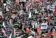 حشود كبيرة تشارك بتظاهرة في لندن مؤيدة للمقاومة وغزة والاقصى وحي الشيخ جراح وينددون بالعدوان الاسرائيلي والدعم البريطاني له