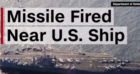 حاملة الطائرات ترومان وعلي الصورة كتابة صاروخ بالرقب منها