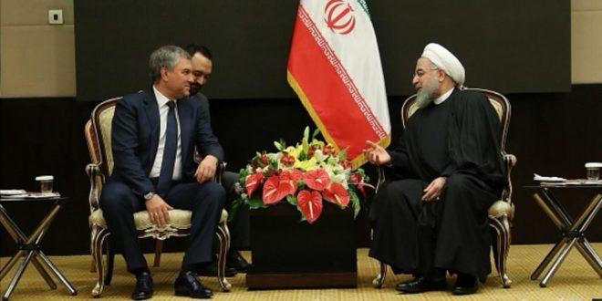 الرئيس روحاني مستقبلا رئيس الدوما الروسي : علاقات البلدين باتت قوية ومتقدمة وليس بامكان بلد ثالث المساس بها
