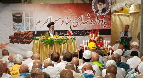 """الحجاج الايرانيون يحيون ذكر """" شهداء منى """" في مكة المكرمة بحضور حشد من الحجاج وعوائل الشهداء"""