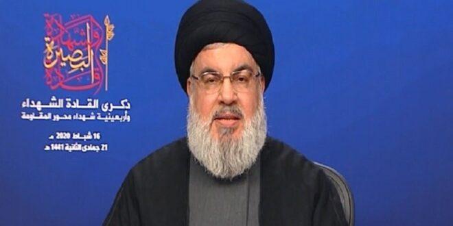 السيد نصر الله : امريكا تشكل اعلى مصاديق الشيطنة والشهيدان سليماني والمهندس كانا على استعداد دائم للتضحية بلا حدود