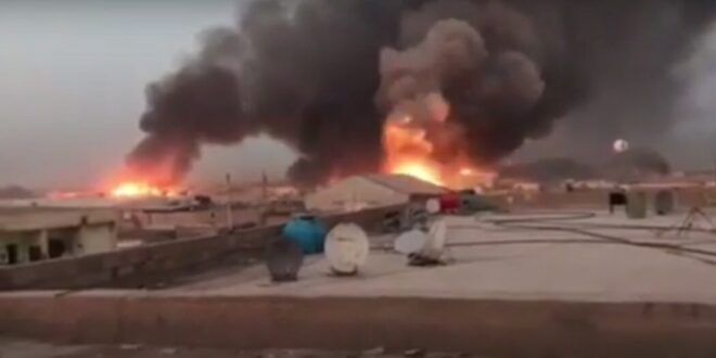 طائرة مجهولة تقصف قوات الحشد الشعبي في معسكر مطار المرصنات في الانبار