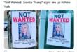 """ملصقات في مدينة نيويورك يعلن بان """"  ايفانكا ترامب """" غير مرحب بها في المدينة بسبب تواطئها مع سياسات والدها"""