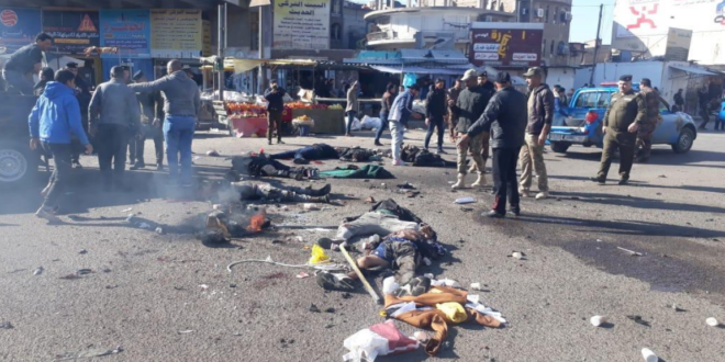 فيديو : استشهاد 32 شخصا واصابة اكثر من 110 اخرين في تفجير مزدوج وسط سوق ساحة الطيران الشعبي