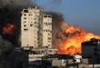 قوات الاحتلال الاسرائيلي تدمر برج الجلاء في غزة والذي يضم مكاتب وسائل اعلام عربية واجنبية